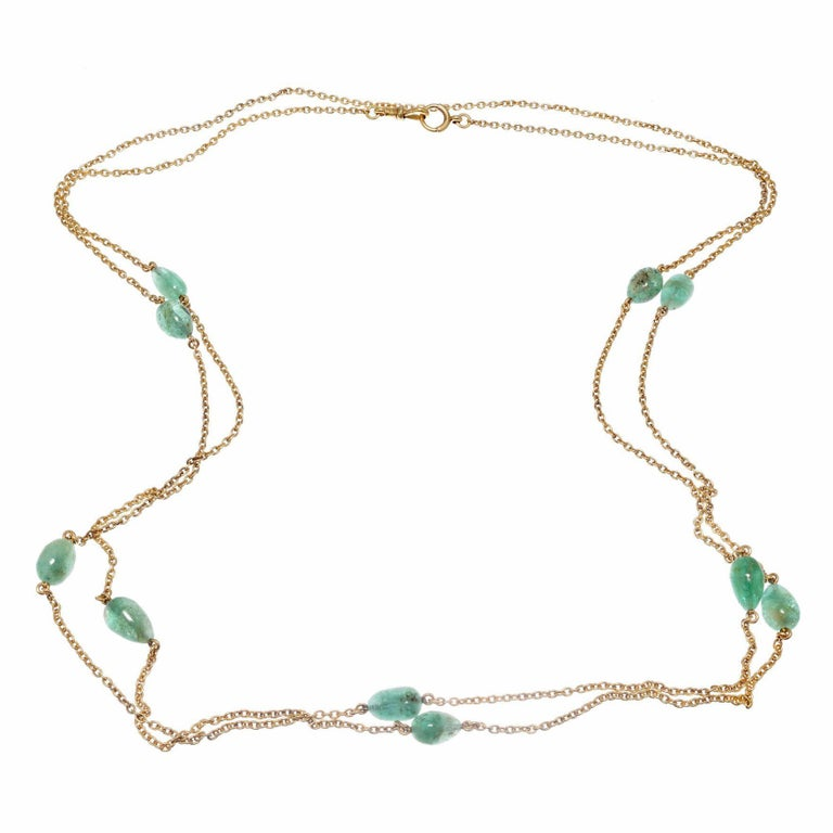 50.00 Carat Emerald Beaded Yellow Gold Victorian Necklace For Sale