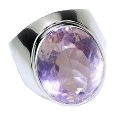 Oval Rose Quartz Bezel Set in Sterling Silver Ring
