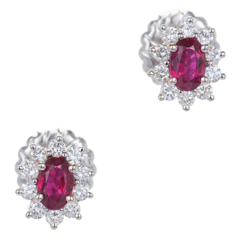 1.30 Carat GIA Certified Ruby Diamond Halo Gold Cluster Earrings