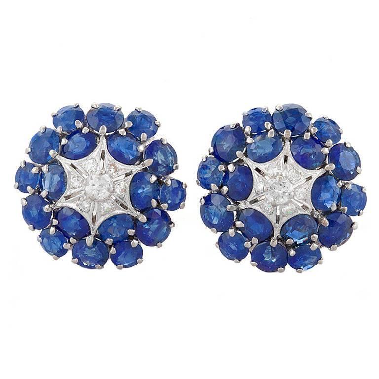 1950s Sapphire Diamond Platinum Earrings
