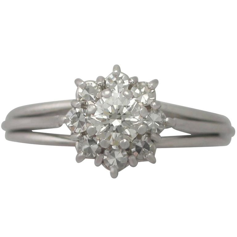 1960s Diamond and White Gold Cluster Ring