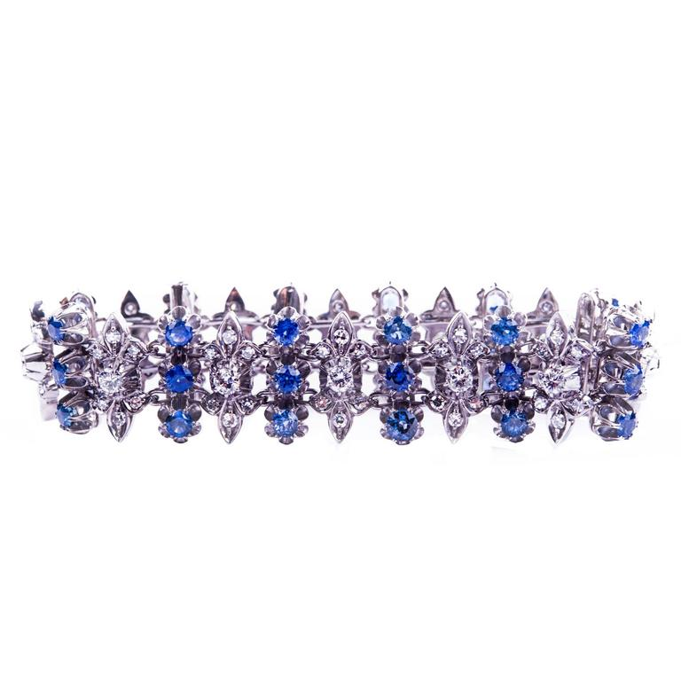 Vintage Sapphire and Diamond Bracelet from the 60s
