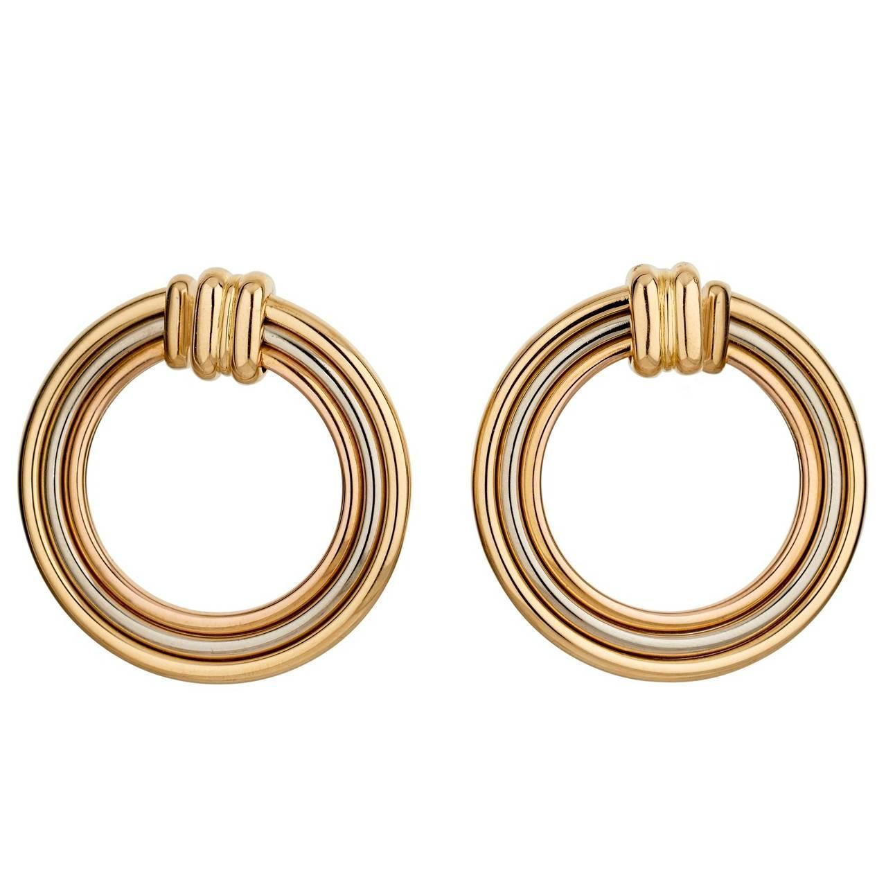 cartier 18ct yellow and white gold circular hoop earclips