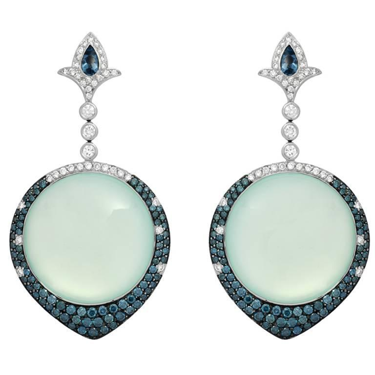 Chalcedony White and Blue Diamond Pavé Earrings in Gold