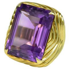1980s Amethyst Gold Cocktail Ring