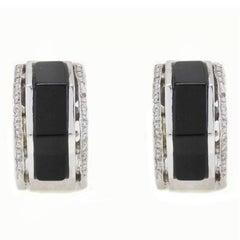 Onyx Diamond Hexagon Gold Earrings