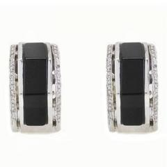 Onyx Diamond Hexagon Gold Earrings