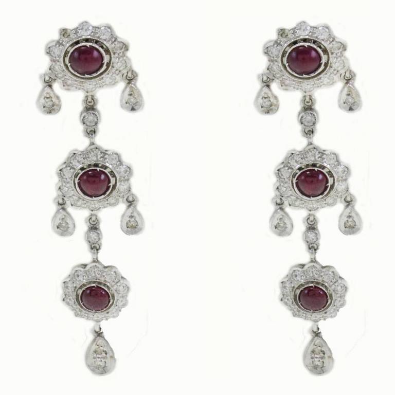 Ruby Diamond Chandelier Gold Earrings