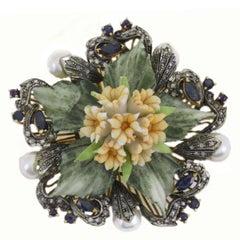 Capodimonte Porcelain Pearl Diamond Sapphire Gold and Silver Pendant