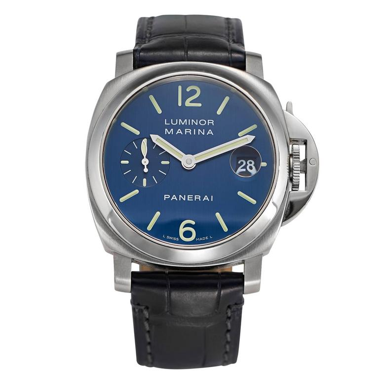 5c937c5dd78a Officine Panerai stainless steel blue dial Marina Automatic Wristwatch For  Sale