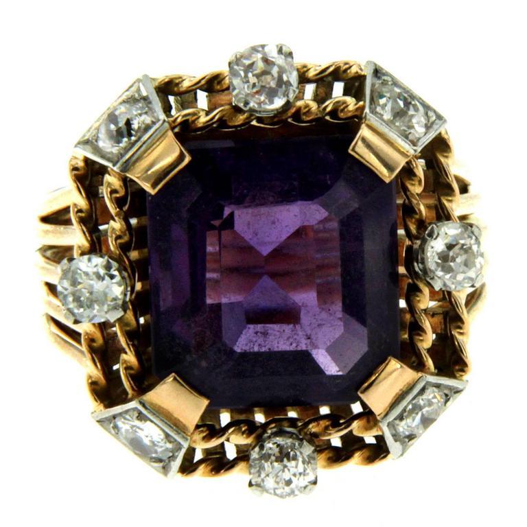 Retro Amethyst Diamond Gold Ring 1