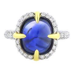 Sugarloaf Cabochon Sapphire Diamond Ring