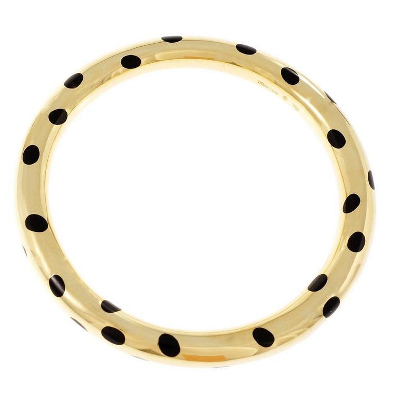 Tiffany & Co Black Jadeite Jade Gold Bangle Bracelet