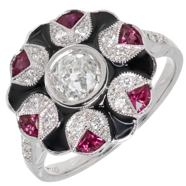 GIA Certified Black Enamel Ruby Diamond Platinum Cluster Cocktail Ring