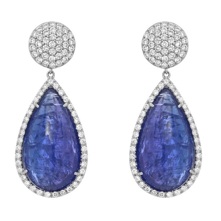 Tanzanite Diamond Drop Gold Earrings For