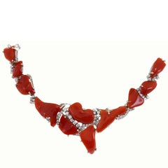 White Diamonds, Red Coral,18K White Gold Retrò Necklace