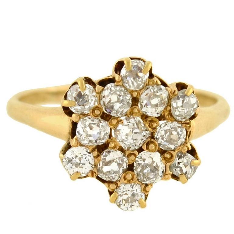 Victorian Mine Cut Diamond Cluster Ring