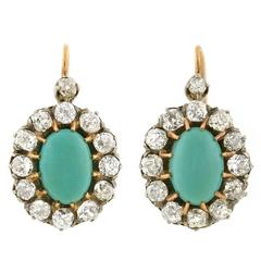 Victorian Cabochon Turquoise Diamond Cluster Earrings