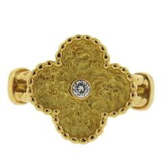 Van Cleef & Arpels Vintage Alhambra Diamond Gold Clover Ring