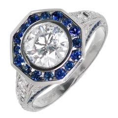 Peter Suchy Diamond Sapphire Halo Platinum Engagement Ring