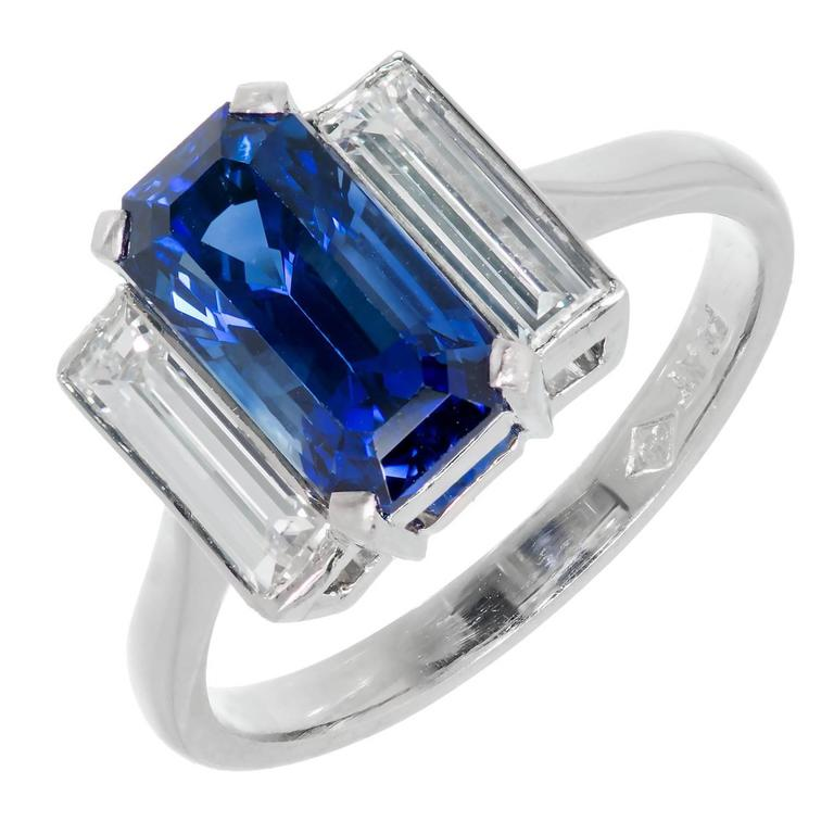24a3e7aca7583b Emerald Cut Sapphire Diamond Platinum Three-Stone Engagement Ring For Sale