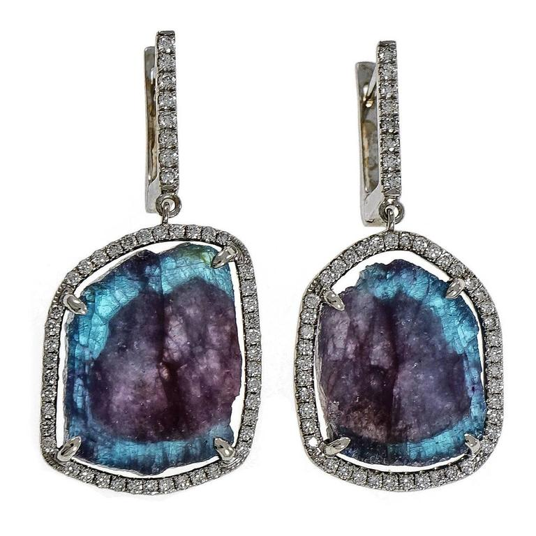 Peter Suchy Paraiba Tourmaline Diamond Gold Dangle Earrings