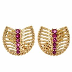 Natura Bright Red Ruby Gold Fan Earrings