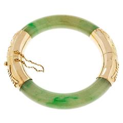 Natural Green Jadeite Jade Gold Bangle Bracelet