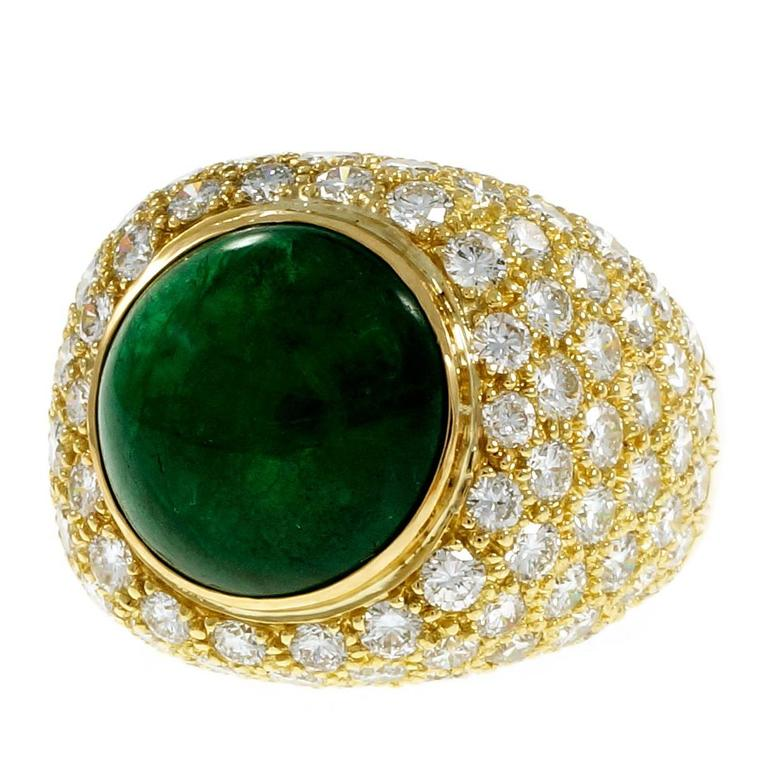 Green Cabochon Emerald Diamond Dome Gold Cocktail Ring