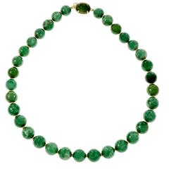 Natural Large Jadeite Jade Bead Gold Necklace