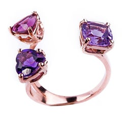 Rose Gold and Amethyst Three-Stone Ring