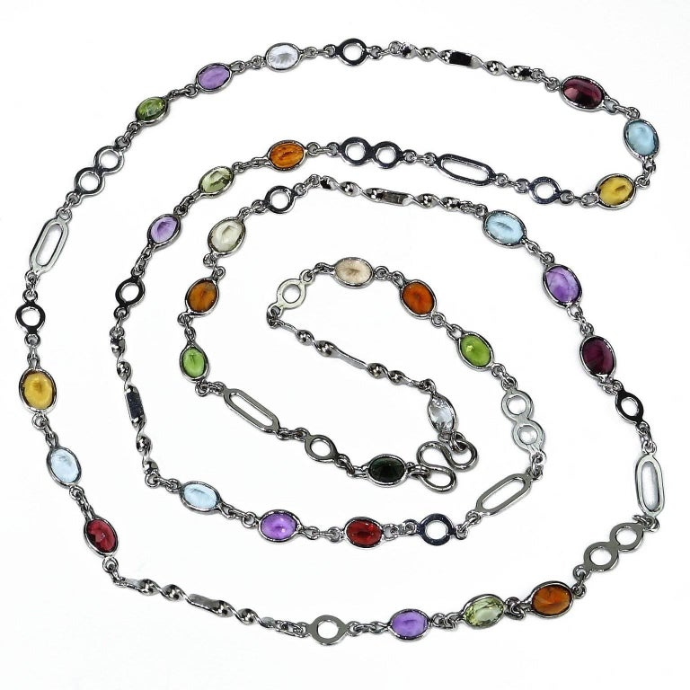 36 Inch Sterling Silver Chain with Oval Gemstones Necklace For Sale