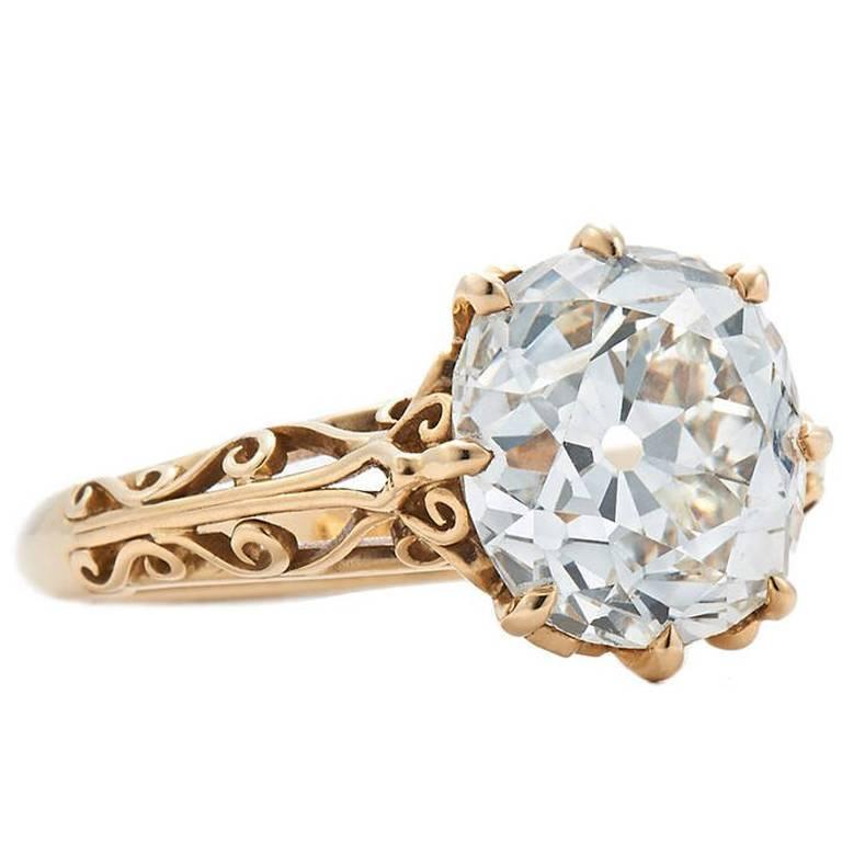 Fred Leighton 4.61 Carat J/VS1 Old Mine Diamond Filigree Engagement Ring
