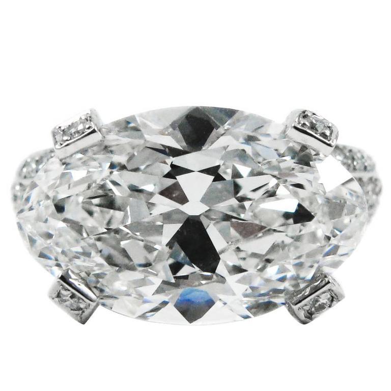 6.68 Carat Antique Oval Cut Diamond and Platinum Ring GIA