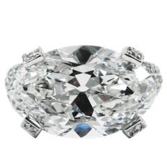 6.68 Carat Antique Oval Cut Diamond and Platinum Ring GIA by J Birnbach