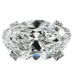 6.68 Carat Antique Oval Cut Diamond and Platinum Ring GIA