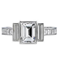 Step Cut Diamond Platinum Engagement Ring