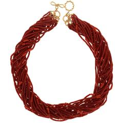 Valentin Magro Multi-Strand Tube Coral Necklace