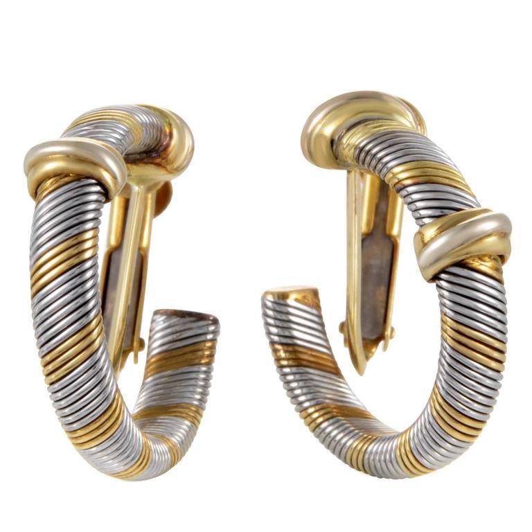 Cartier 1980s Yellow Gold Stainless Steel Hoop Earrings