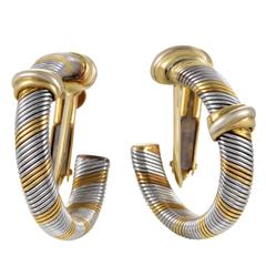 Cartier 1980s Yellow Gold Stainless Steel Hoop Earrings