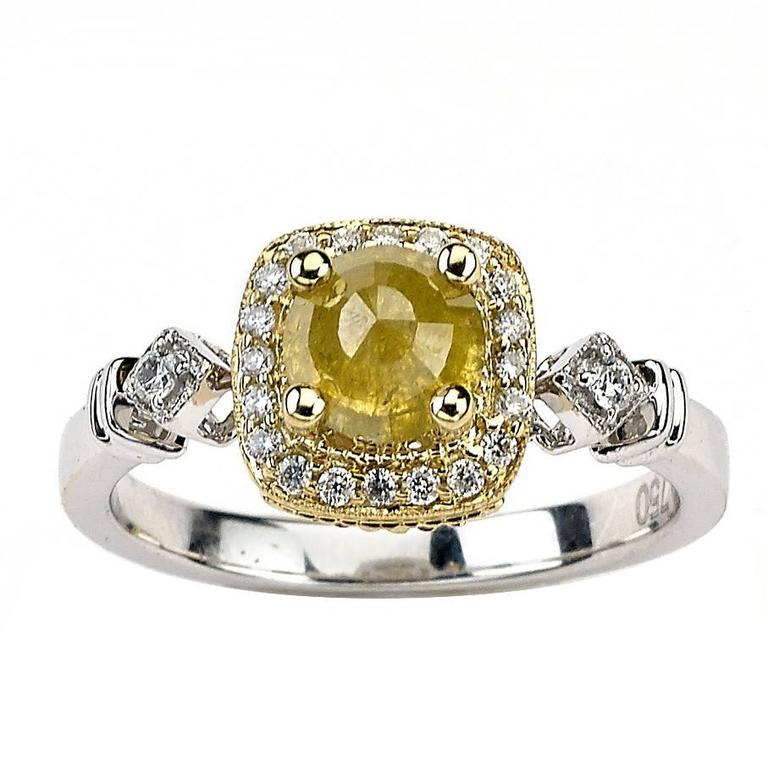 Two-Tone Ring with Fancy Yellow Diamond Centre For Sale