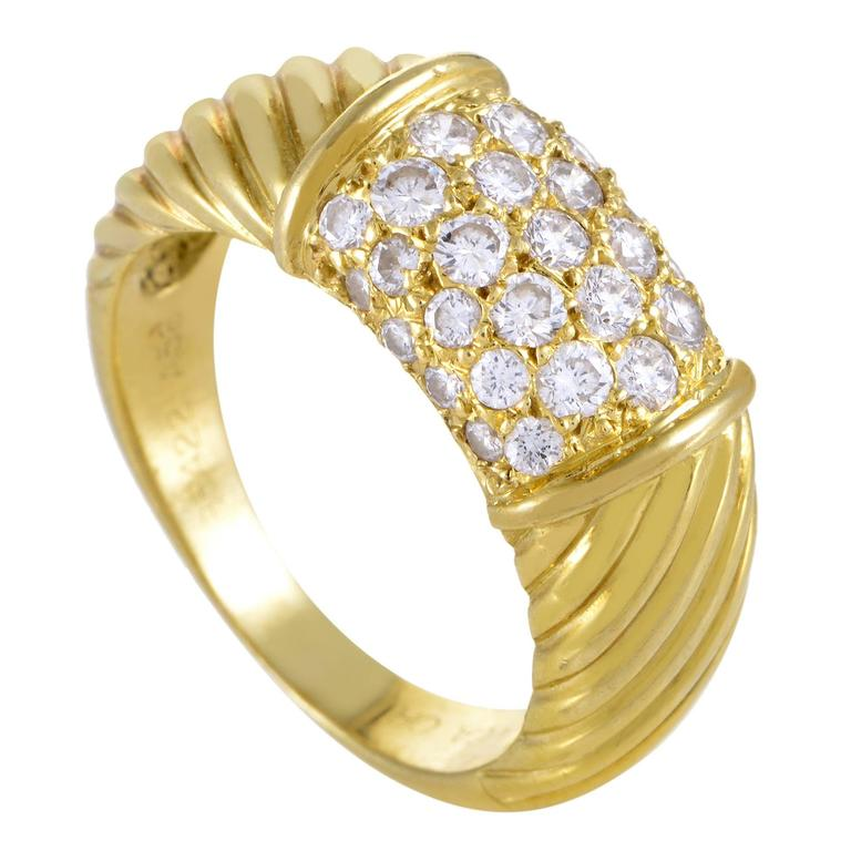 Van Cleef & Arpels Partial Diamond Pave Ridged Gold Band Ring For Sale