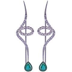 Emerald Diamond Spiral Earrings