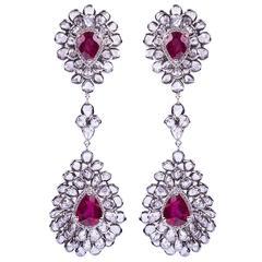 Ruby and Rose Cut Diamond Earrings