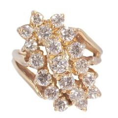 2.00 Carat Diamond Gold Waterfall Ring