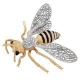 Large Buccellati Enamel Sapphire Diamond 18 Karat Yellow Gold Bee Brooch