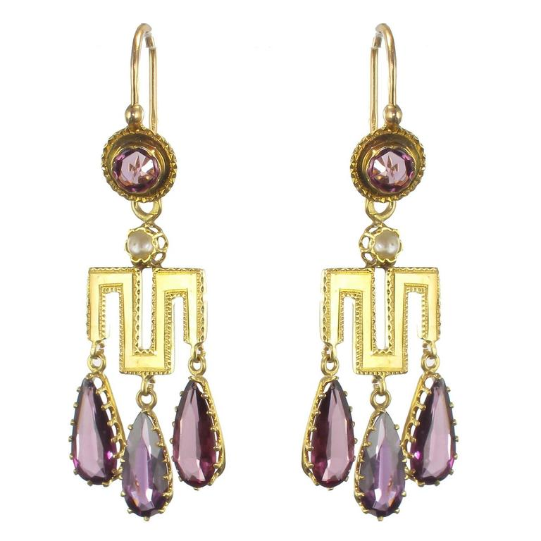 French Louis-Philippe Fine Pearl Garnet Gold Earrings  For Sale