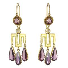 French Louis-Philippe Fine Pearl Garnet Gold Earrings