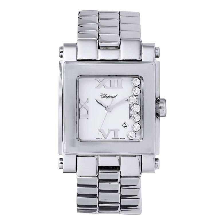 Chopard Ladies Stainless Steel Happy Sport Quartz Wristwatch For Sale