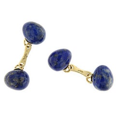 Jona Lapis Lazuli Egg Shape 18 Karat Yellow Gold Cufflinks